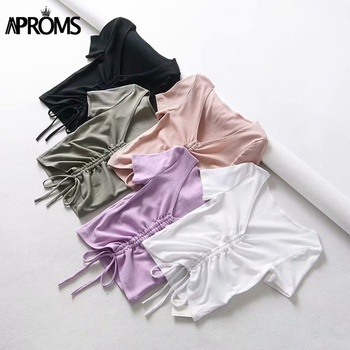 Aproms Sexy V Neck Cropped Tank Tops Women Drawstring Tie Up Front Camis Candy Colors Streetwear Slim Fit Ribbed Crop Top 2020 6