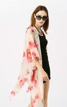2019 Spring  Summer Hot Chiffon Poppies Beach Coat Sun Shade Cardigan Bikini Print Blouse Swimsuit