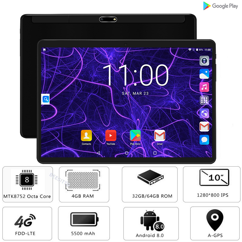 Google Android 8 0 Octa Core 10 inch Tablet 4GB RAM 64GB ROM 2 5D Glass