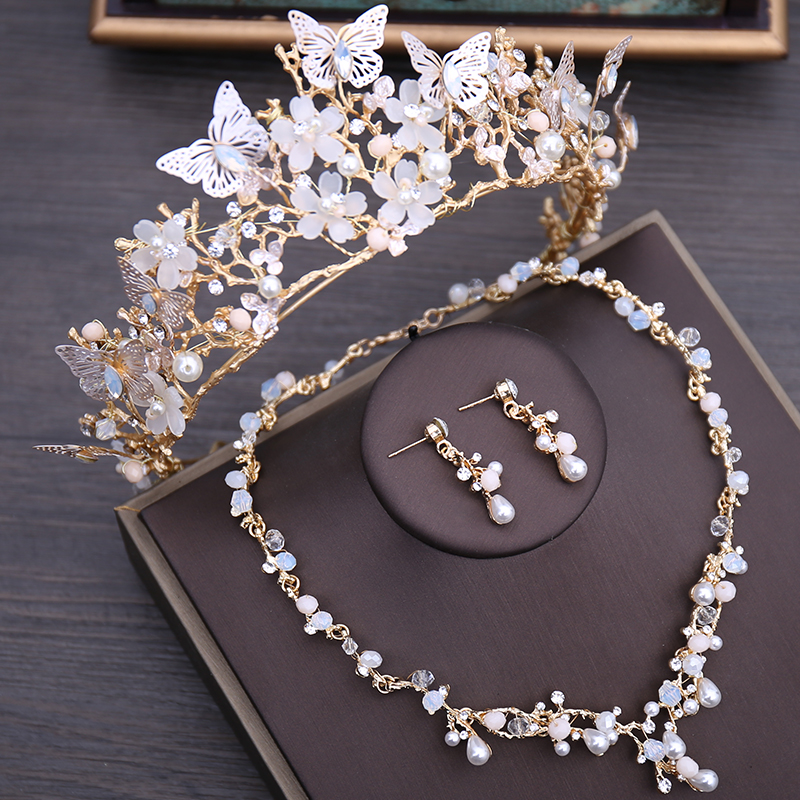 Jewelry-Sets Earrings Necklace Tiara Beads Butterfly-Costume Rhinestone Choker Crystal