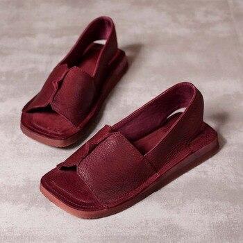 2019 Women Sandals Summer Shoes New Soft Bottom Genuine Leather Sandals woman Platform Flat Heel Sandals