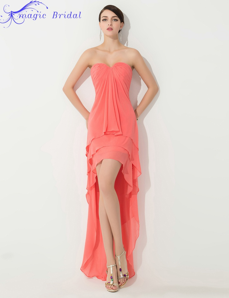 Popular High Low Bridesmaid Dress in Coral-Buy Cheap High Low ...