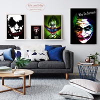 Joker Smiling Dark Canvas Art Painting Print Poster, Wall Pictures For Living Room Decor Home Decoration new Year gifts No Frame