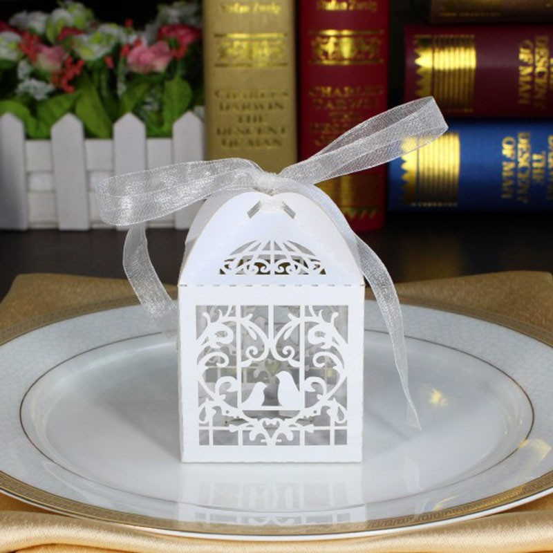 50pcs Laser Cut Bird Wedding Favors Candy Boxes Sweets Box Baby
