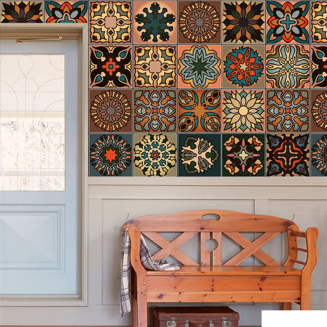 Moroccan Style DIY Mosaic Wall Tiles Stickers Waist Line ...