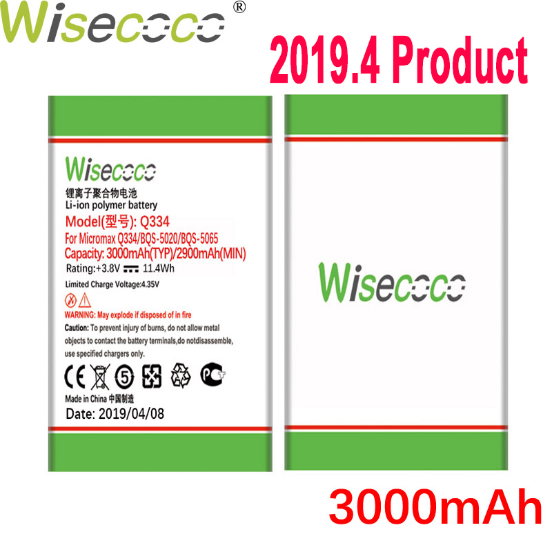 WISECOCO 3000mAh Battery For Micromax Q334 Q 334 Mobile Phone In Stock Latest Production High Quality Battery+Tracking Number