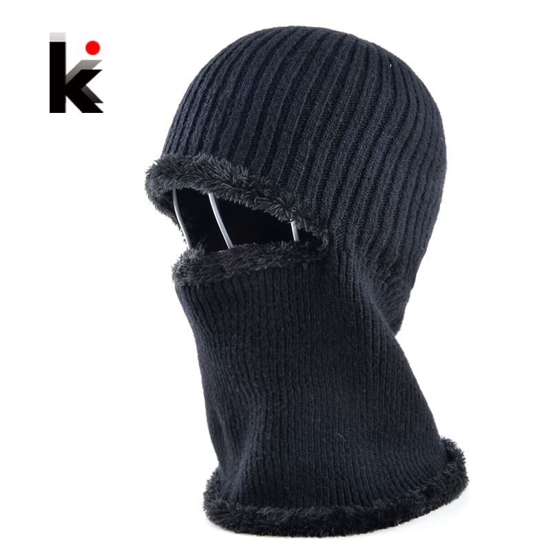 Mens winter face mask hat skullies and beanies knitted wool stocking hat plus velvet cap thicker bonnet hats for men mask skullies