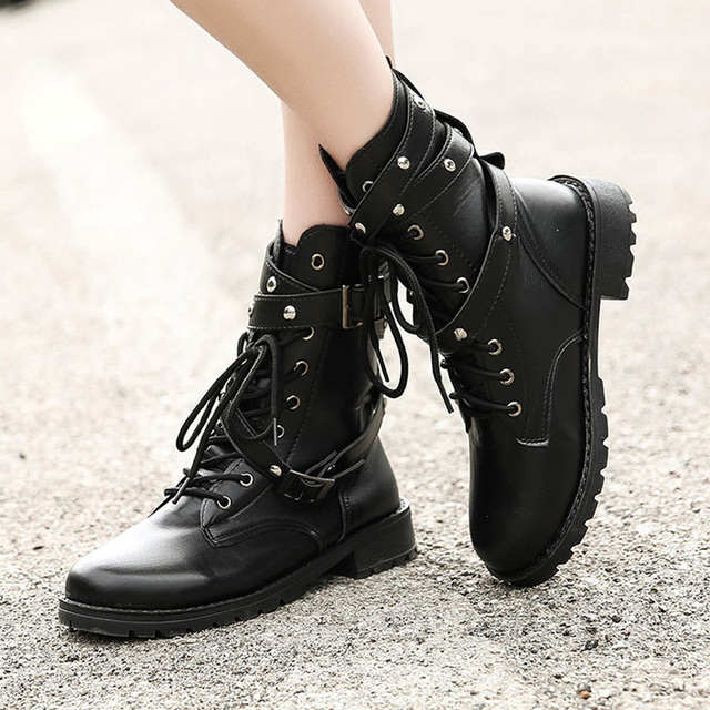 701911fef53 Plus Size Women Boots Military Boots Women High Boots Low Heel Gothic Shoes  Black Buckle Ladies Shoes Lace Up Leather Boots-in Ankle Boots from Shoes  on ...
