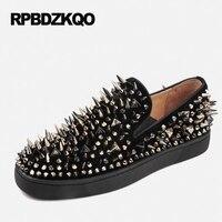 обувь колос шпилька Мужские дизайнерские кожаные лоферы черный нубука замша весна роскошь заклепка Runway