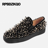 Shoes Spike Stud Men Designer Leather Loafers Black Nubuck Suede Spring Luxury Rivet Runway Fashion Hot Sale Autumn Popular
