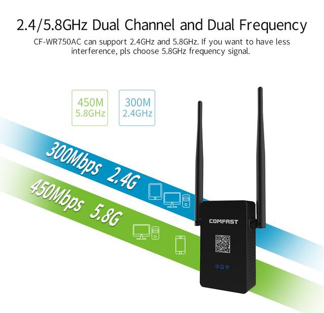Versión V2, 802.11AC Extensor Wifi Mini Router inalámbrico de Banda Dual 2.4G/5.8G Wi-fi Repetidor 750 M Wifi Repetidor Wi fi Boosters
