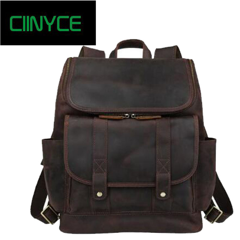 Men Back packs 100% Genuine Leather Backpack Male Brand Designer Crazy Horse Laptop Bag Fashion Casual Business School Bagpack цена