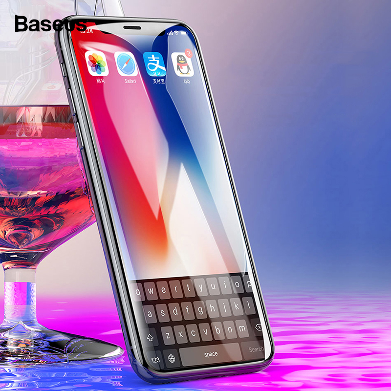 <font><b>Baseus</b></font> Tempered Glass For <font><b>iPhone</b></font> X 8 7 6 Plus Screen Protector 0.23MM Soft PET 3D Curved Protective Glass Front Film For iPhonX image