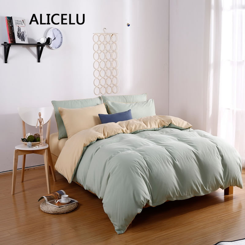 ALICELU2017 New Fashion AB Side Solid Color Splicing Hit Color Bedding 100% Cotton Quality Adult Ced Cover Duvets 4 Bedding Set