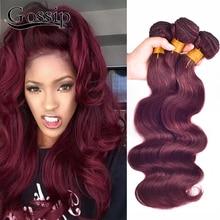 99j# Burgundy Brazilian Hair Weave Bundles Brazilian Virgin Hair Body Wave 7A Brazilian Body Wave Hair Red Human Hair Bundles