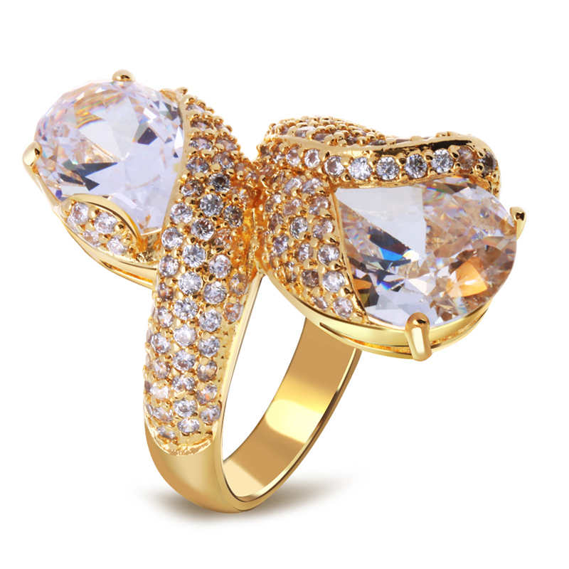 Fine jewelry Wedding Rings real gold plated with cubic zircon Finger
