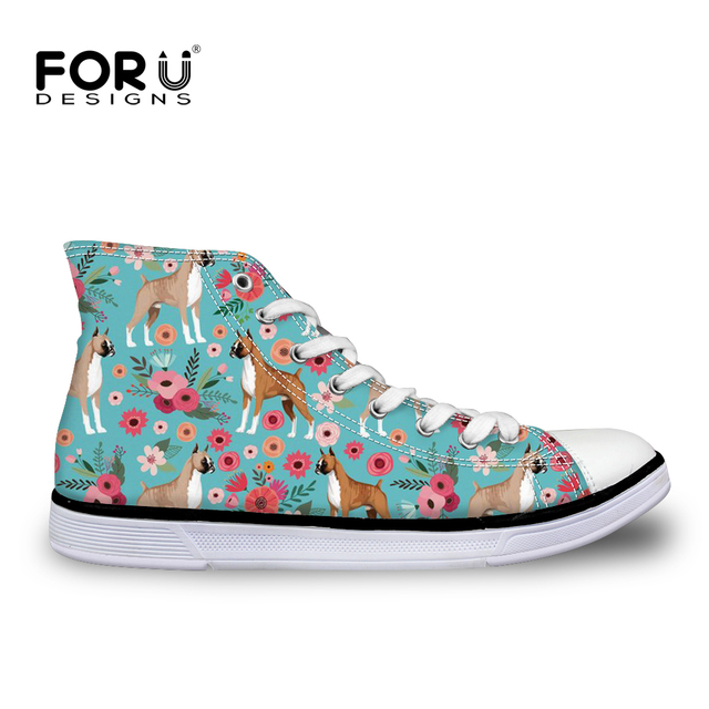 Women s High Top Vulcanize Shoes Funny Puppies Boxer Floral Printing Flat  Casual Canvas Shoe Female Lovely Pug Fresh FORUDESIGNS cec6f232d2c5