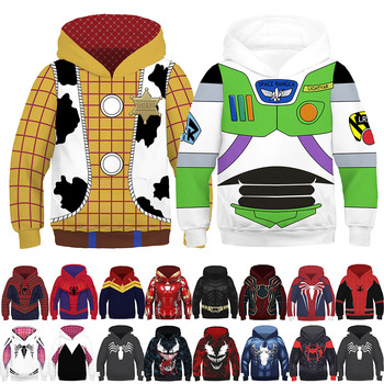 3D Printing Kids Anime Costume Toy Story Cosplay Superhero Iron Man Hoodies Boy Girl Buzz Light Year Woody Spider Man Sweatshirt