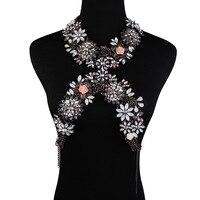 Newest Luxury Crystal Jewelry Belly Chains Flower Necklaces Women Summer Beach Maxi Waist Bikini Beach Colar