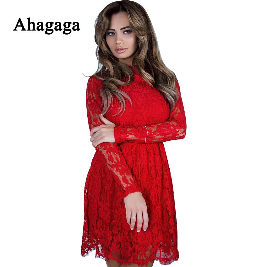 Ahagaga 2019 Summer <font><b>Lace</b></font> <font><b>Dress</b></font> Women Fashion Solid Red Black <font><b>Sexy</b></font> <font><b>Backless</b></font> Club <font><b>Hollow</b></font> Out Sheath <font><b>Dress</b></font> Women <font><b>Dresses</b></font> Vestidos image