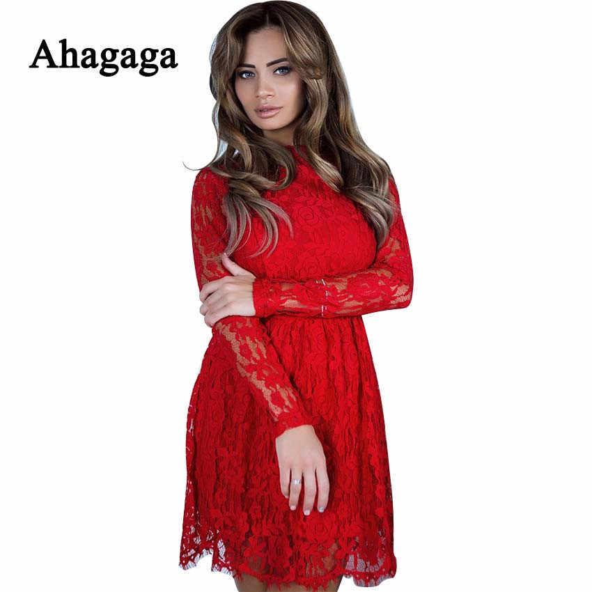 Ahagaga 2019 летнее кружевное платье для женщин модное однотонное красное черное сексуальное Клубное Открытое платье-футляр с открытой спиной женские платья