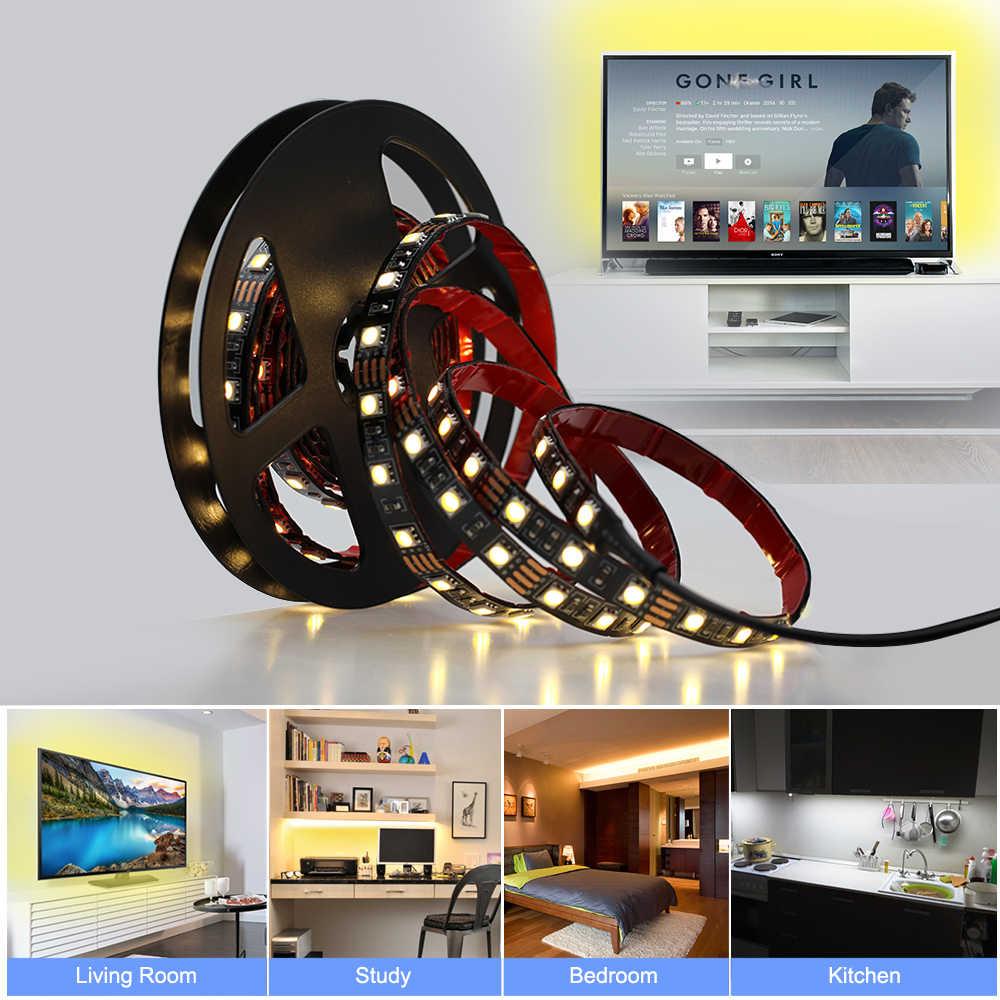 USB 5 В Светодиодная лента 5050 50 см 1 м 2 м 3 м 60 Светодиодный s/m USB источник питания с переключателем для DIY шкаф/спальня/освещение в ванной комнате.