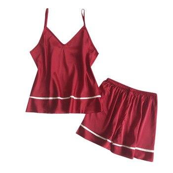 d48c6f93f8af7 KLY горячий сон лаунж-пижама набор сексуальные атласные пижамы женские  летняя Пижама Femme модные Пижама