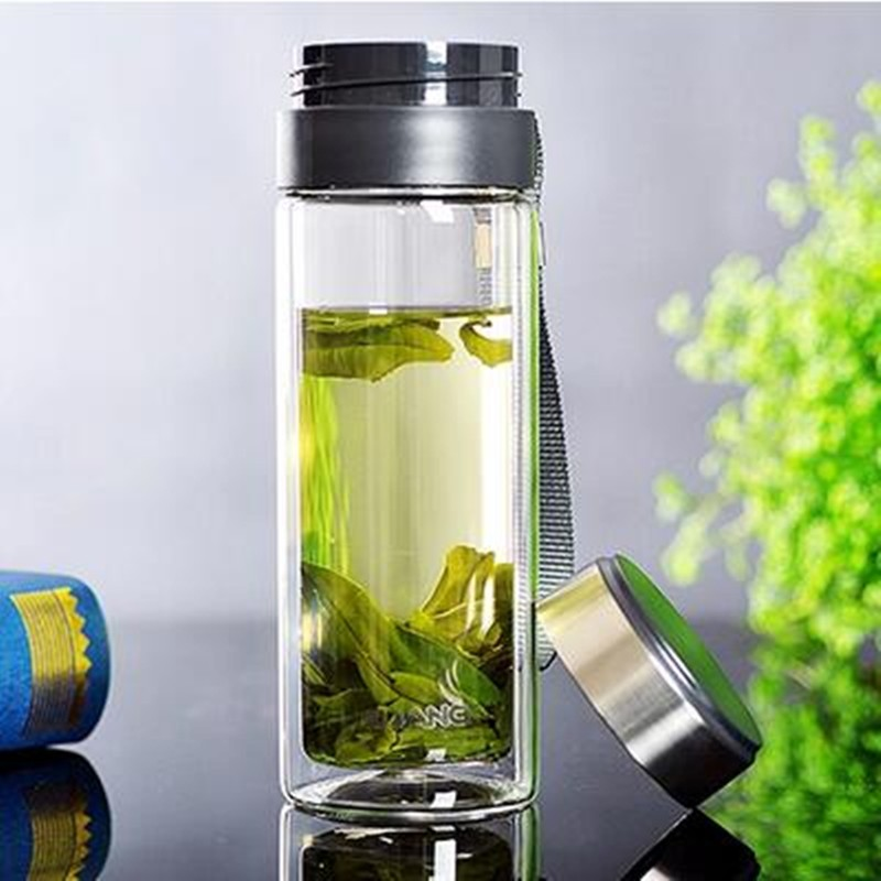 49e01e9750 Glass Water Bottle with Stainless Steel tea infuser 280ml Portable Bottle  double Transparent Bottle for Water
