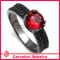 Carraton RSQD1089 Black Rhodium Plated Solid 925 Sterling Silver Jewellery Red Cystal Ring