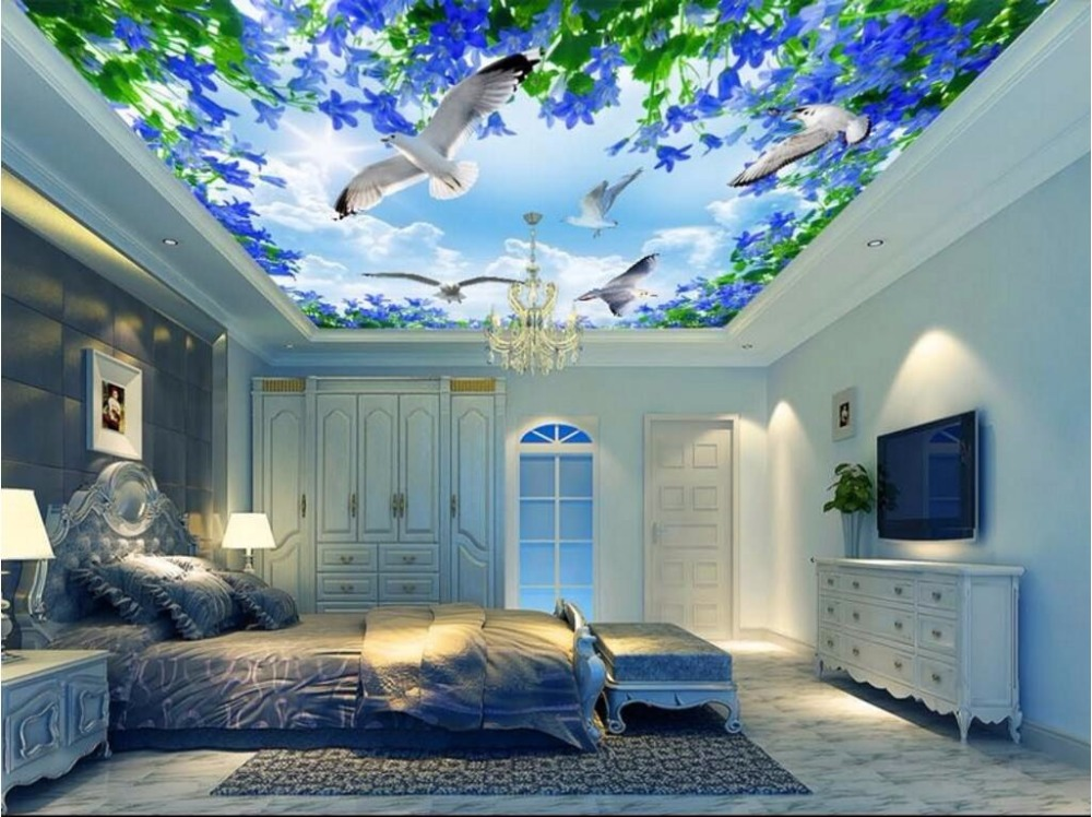 Custom photo 3d ceiling murals wallpaper The sky gull the sea home decoration painting 3d wall murals wallpaper for walls 3 d custom photo 3d ceiling murals wall paper european spelling a flower room decor painting 3d wall murals wallpaper for walls 3 d
