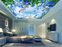Custom photo 3d ceiling murals wallpaper The sky gull the sea home decoration painting 3d wall murals wallpaper for walls 3 d