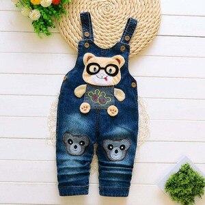 Image 4 - Pantaloni per neonati appena nati jeans carini in cotone per bambini bretelle per bambini pantaloni in denim 0 4T (baby outwear ragazzi ragazze pantaloni