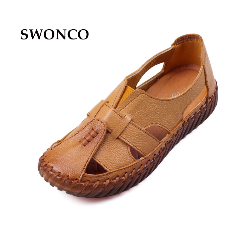 2549ddca98200 SWONCO Women s Sandals 2018 Summer Genuine Leather Handmade Ladies Shoe  Leather Sandals Women Flats Retro Style