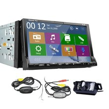 Universal Double 2 din In Dash 7 inch GPS Navigation Car Stereo GPS DVD Player FM/AM Radio SD/USB Card Slot+Free Wireless Camera