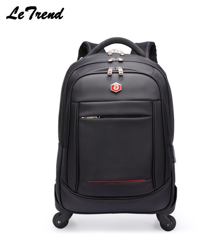 LeTrend Oxford Travel Bag Men Rolling Luggage large waterproof Suitcases Wheel 20 inch Carry On Shoulder Bags Men's Backpack