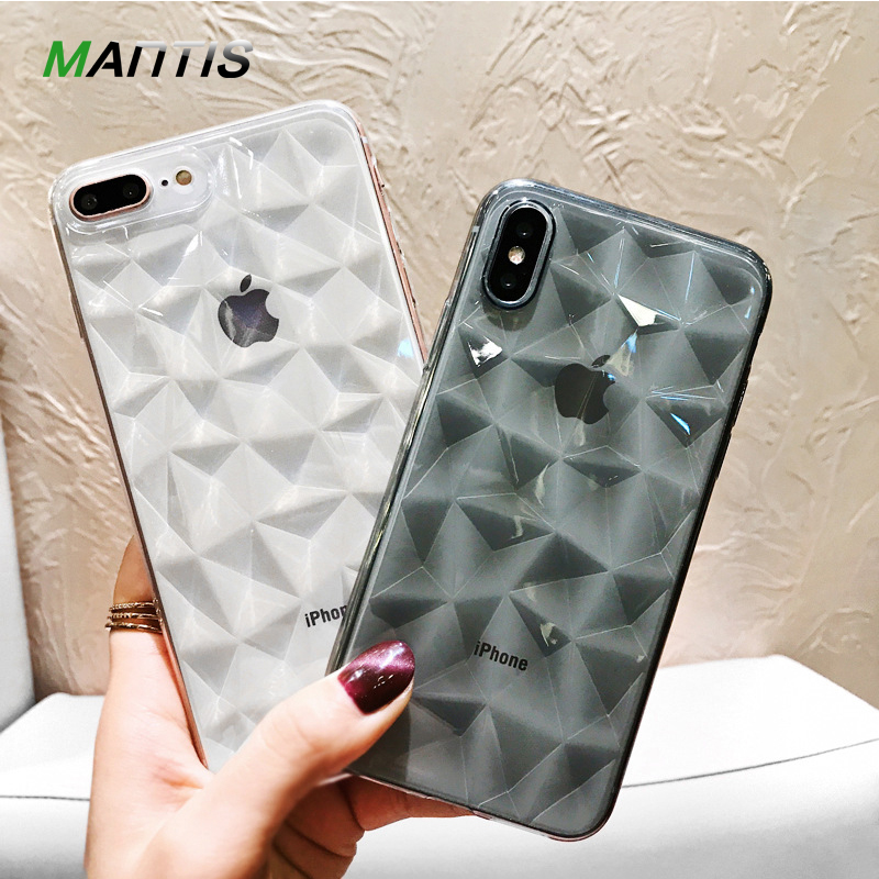 MANTIS for iPhone 7 Case Luxury Diamond Texture Case for iPhone 6 6s 8 8P X 10 Soft TPU Cover Prism Case Elegant Fashion Funda