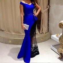 Saudi Arabia dress Yousef aljasmi myriam fares labourjoisie 2015 Noble Blue Floor-Length Sheath V-Neck Evening dresses