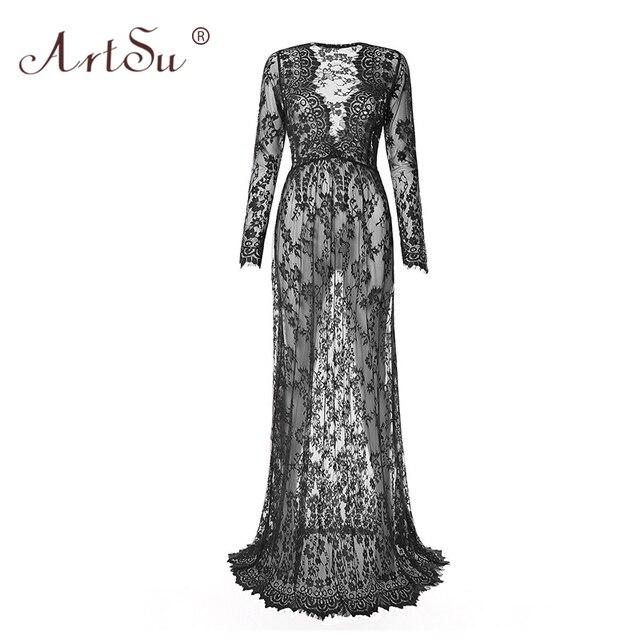 ArtSu femmes longueur au sol noir blanc dentelle robe ajuster la taille Sexy voir à travers Floral Long Maxi robes de soirée Vestidos grande taille