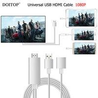 DOITOP Uniwersalne USB HDMI Audio Video Kabel 8 Pin/Micro USB na HDMI 1080 P HDTV Adapter AV Kabel Dla iPhone 8 7 6 Plus Samsung O3