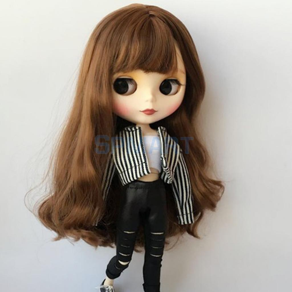 White Vest Striped Jacket Skinny Pants for Blythe Licca Pullip Causal Outfit