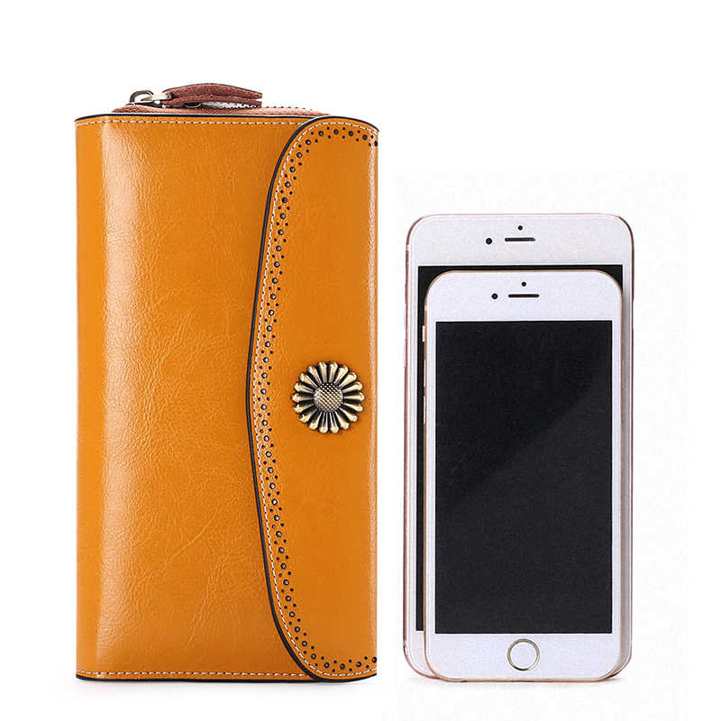Large Capacity New Split Leather Wallet Long Purse Women Zipper Money Bag Casual Purse Button Wallet Women For iPhone 7Plus