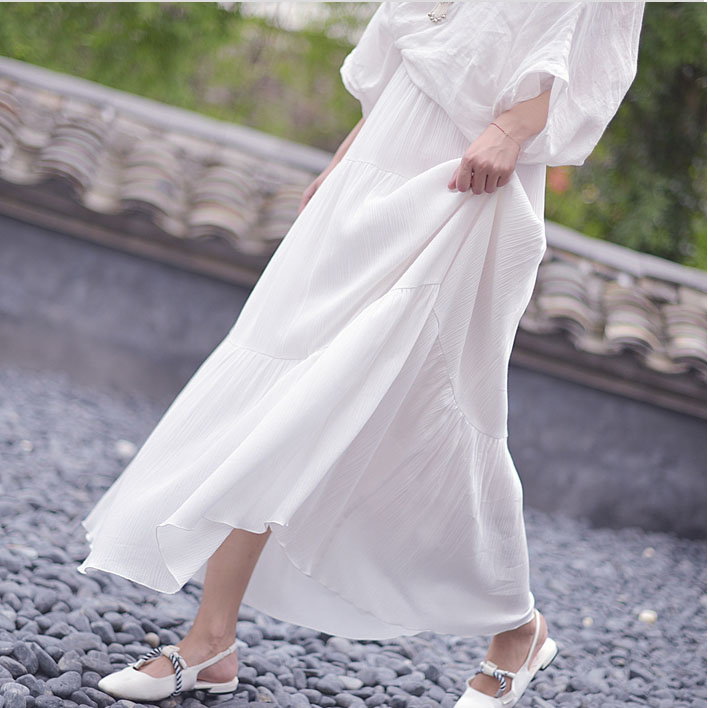 Women/'s Casual Long Maxi Full Skirt Ladies Solid Color Cotton Linen Beach Skirt