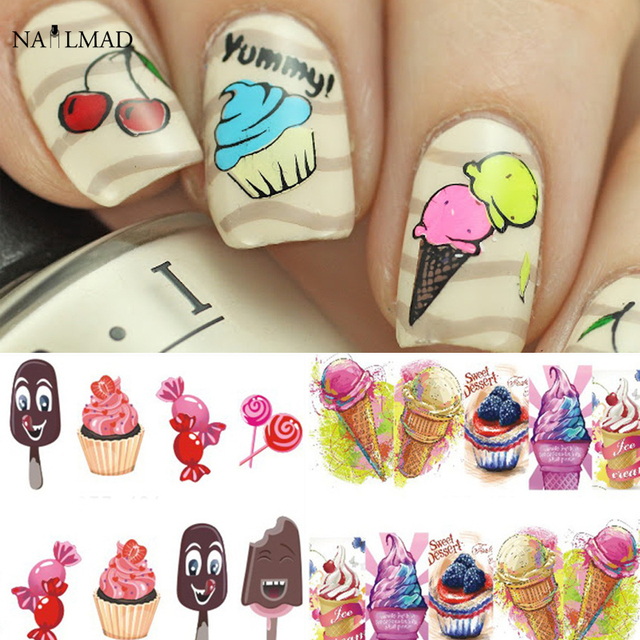 6sheetspack dessert cupcake nail art stickers ice cream cake 6sheetspack dessert cupcake nail art stickers ice cream cake water decals chocolate diy nails prinsesfo Image collections