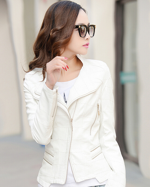 ad97924cd61f76 Fashion collar jacket women 2015 white leather clothing slim leather  motorcycle leather jacket women's outerwear coats