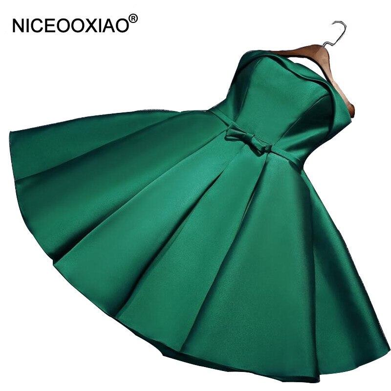 NICEOOXIAO robe de soirée 2019 vert bretelles courte robe de soirée noeud papillon ceintures femmes élégante robe formelle grande taille S07