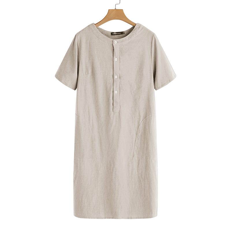Summer Linen Dress 19 Celmia Women Tunic Top Short Sleeve Shirt Button Female Vintage Casual Sundress Sarafans Vestidos S-5XL 18