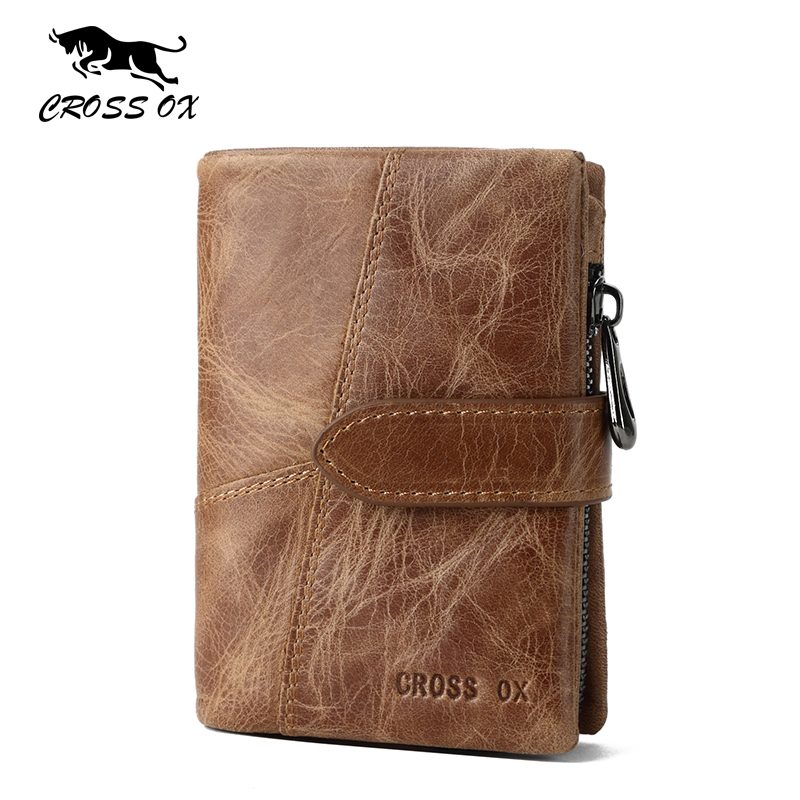 CROSS OX 2017 Spring New Fashion Genuine Leather Purse Men's Wallet French Style Wallets For Men Rugged Leather Card Bag WL105M eureka style ox