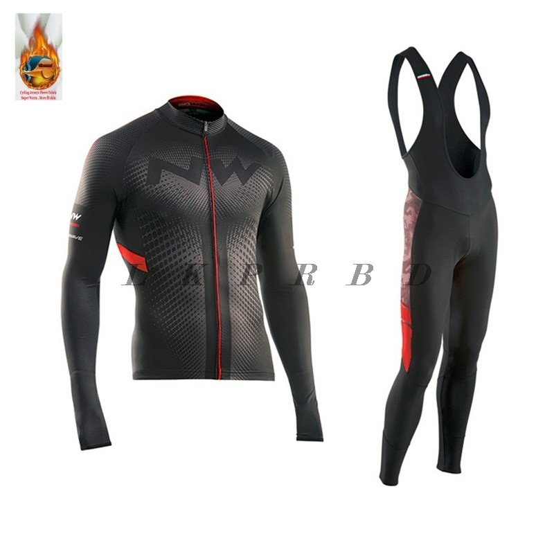 2019 NW brand!! winter Thermal Fleece cycling jersey long sleeve men with pants cycling sets bike wear cycling 9D gel 21 colors