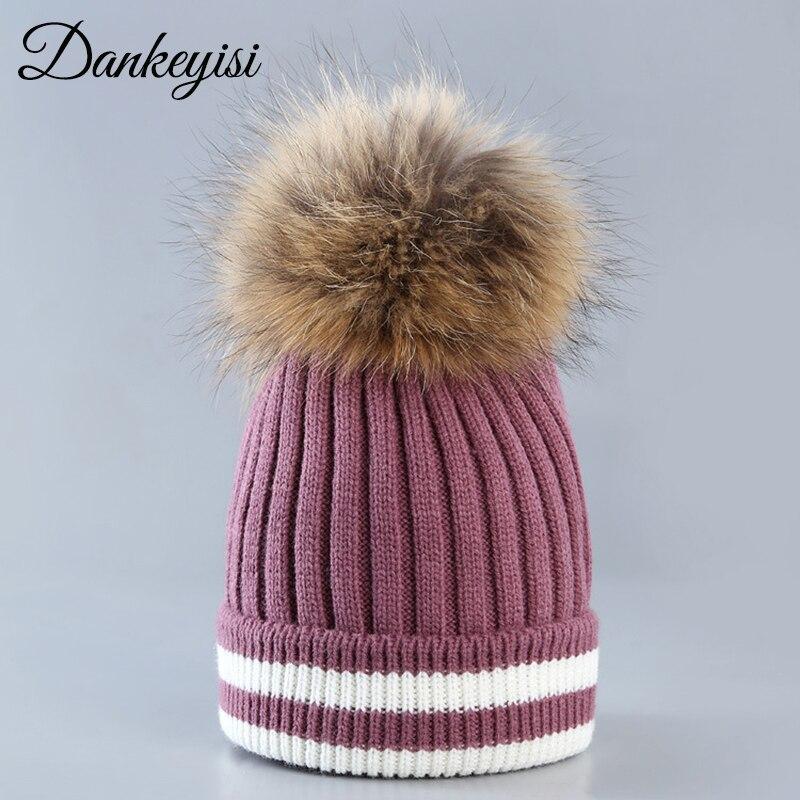 DANKEYISI Women Hat Wool   Skullies     Beanies   Real Natural Fur Pom Poms Knitted Hat Girls Female   Beanie   Cap Pompom Hats For Women