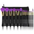 15Pcs Professional Make up Brushes Set Foundation Blusher Powder Eyeshadow Blending Eyebrow Brushes Purple